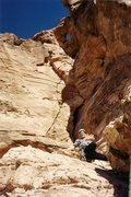 Rock Climbing Photo: You Who Jim goes up hand crack on left wall of cor...