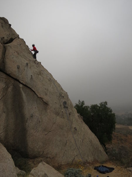 At the top of Pimple Patrol on Knob wall.  The start of the route is the crux!