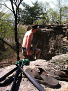 """""""Low Tide"""". A high slack line put up between two cliffs. There are two three bolt bomber anchors, and if you look carefully you will find two bolt anchors for a back up line (one of which requires a slung tree for a directional). Installed in 2013. Anchor just about """"JB Trout"""". Have fun!"""