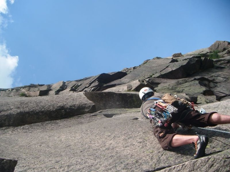 Rock Climbing Photo: Leaving the belay ledge at the top of the second p...
