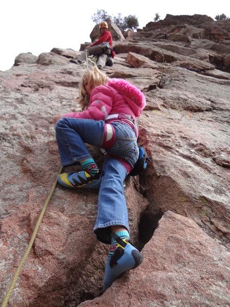 Norah climbing Windridge.