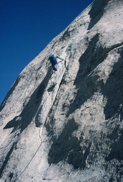 Rock Climbing Photo: Gary leading Double Dip; February 1986.