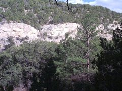 Rock Climbing Photo: Terrace-right, brown section of cliff left of the ...
