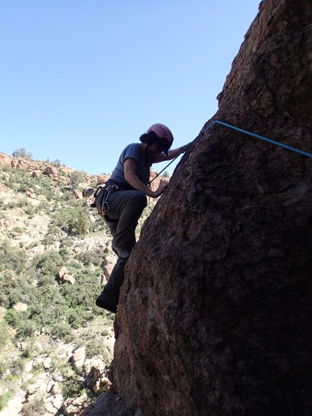 Rock Climbing Photo: Suzanne starts the lead on 'Cool Breeze'
