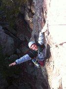Rock Climbing Photo: Matt sticking the 1 handed mega-dyno at the top ou...