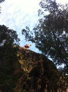 Rock Climbing Photo: Matt beginning the rappel down the West face of Ha...