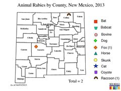 Map indicating rabies incident.