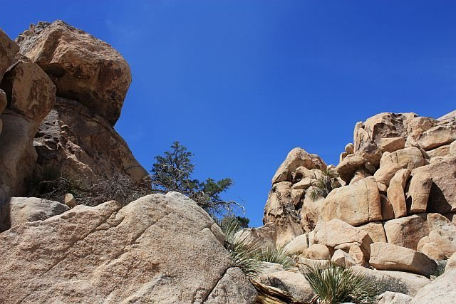 Looking up at the notch used to reach The Chair, Joshua Tree NP