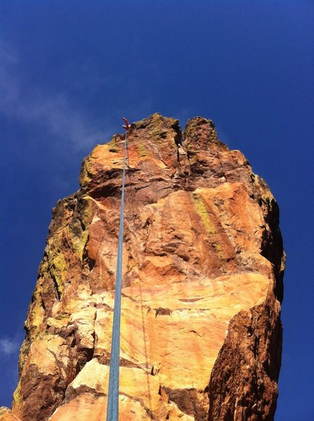 Austin getting psyched to start the amazing and airy rappel off of The Maiden!