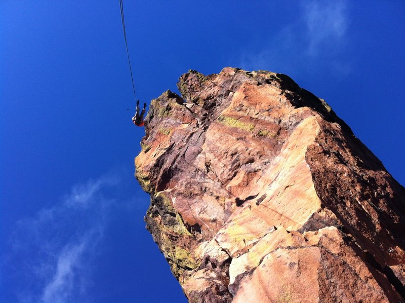Nothing but air! Austin starting down on rappel.