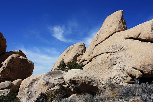 This is the rocky notch used on the upper approach to The Asylum, Joshua Tree NP