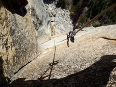 Rock Climbing Photo: Looking down part of pitch two