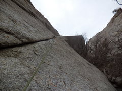 Rock Climbing Photo: Looking up pitch 1