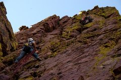 Rock Climbing Photo: Matt Evans leading  pitch #2.   This line I took i...