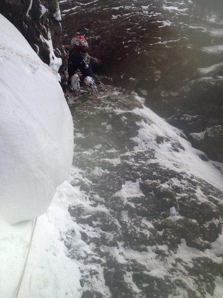 Rock Climbing Photo: Dan overcoming last chockstone in first pitch.