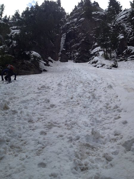 First step in first pitch as well as approach gully and cliff band below route, completely buried in snow. Early April.