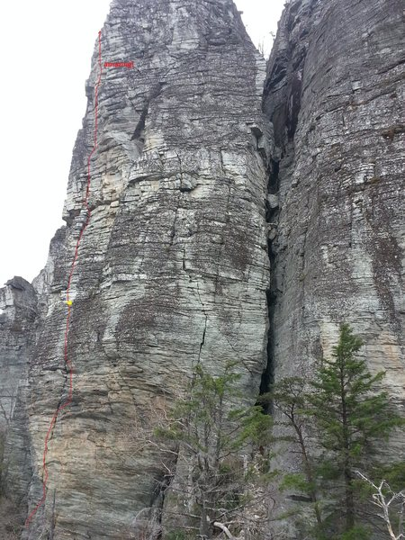 Rock Climbing Photo: Topo of 2 pitches.  Not showing the 2 bolt start/t...