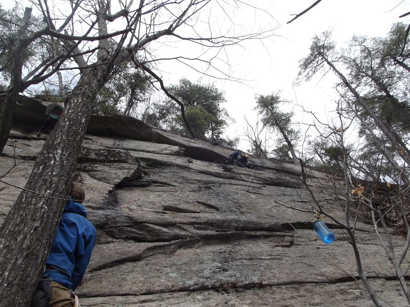 Gretta on Coyote Rain, Jay on The Route Vultures and Tom on belay