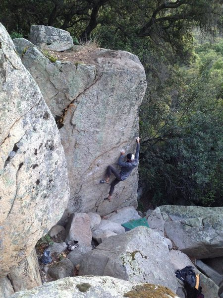 Kevin Riley on the first ascent of LAR's Arete - V5R