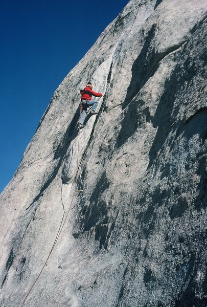 Rock Climbing Photo: Anne following Double Dip on a cold February morni...