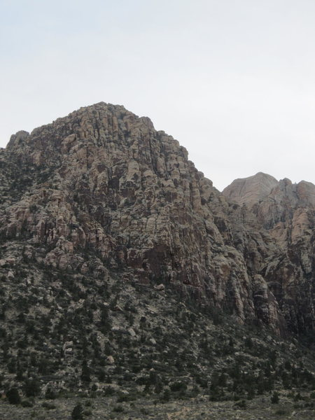 The North east buttress of Bridge Mountain as seen from Icebox Canyon parking lot.
