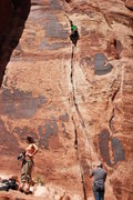 Rock Climbing Photo: Reaching the first nice rest point in a large open...