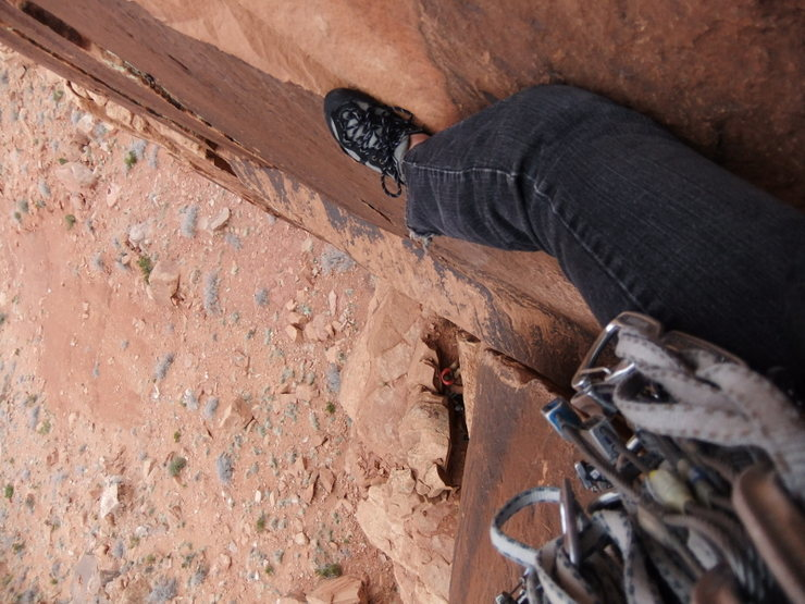 Rock Climbing Photo: Michelle looking down P1
