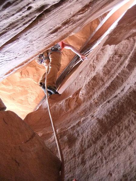 Rock Climbing Photo: Matt starting up P2