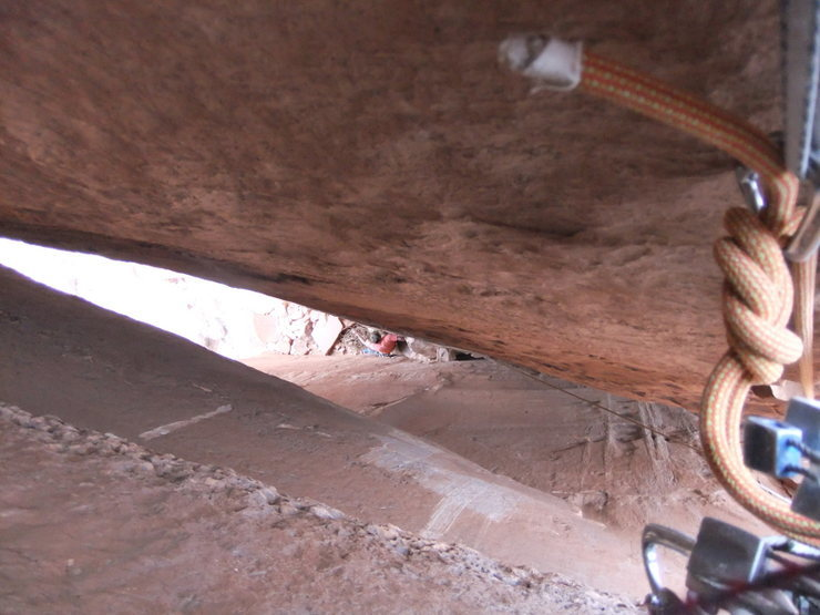 Rock Climbing Photo: looking down the P2 chimney