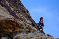 Rock Climbing Photo: Me leading off the top of pitch 2, headed up and a...