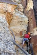 Rock Climbing Photo: Looking at gear options on the beginning of pitch ...