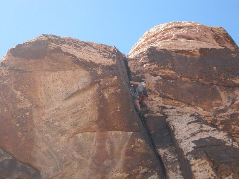 Rock Climbing Photo: Jack pulls the awkward crux.