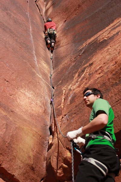 Rock Climbing Photo: Belaying on Binous
