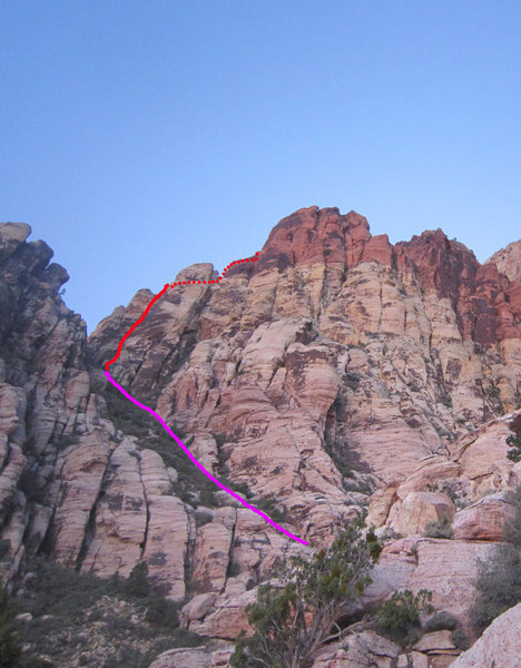 Rock Climbing Photo: The approach is in purple, the route in red.  We d...