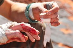 Rock Climbing Photo: a fall with the pack led to bloody fingers and the...