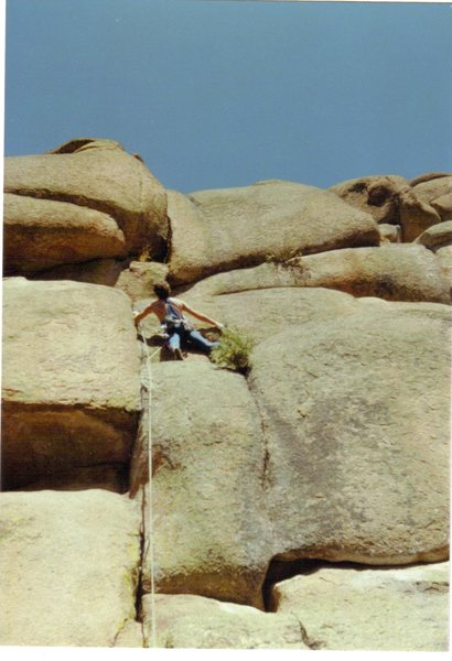 Rock Climbing Photo: About 1/2 way up the route on the FA sporting styl...