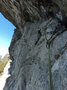 Rock Climbing Photo: Looking across from part way through the roof at t...