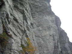 Rock Climbing Photo: At the first belay, with Shannon starting up the l...