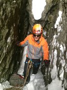 Rock Climbing Photo: Dan in the belay cave on top of pitch one. Getting...
