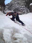 Rock Climbing Photo: Dan leading through pitch 3.