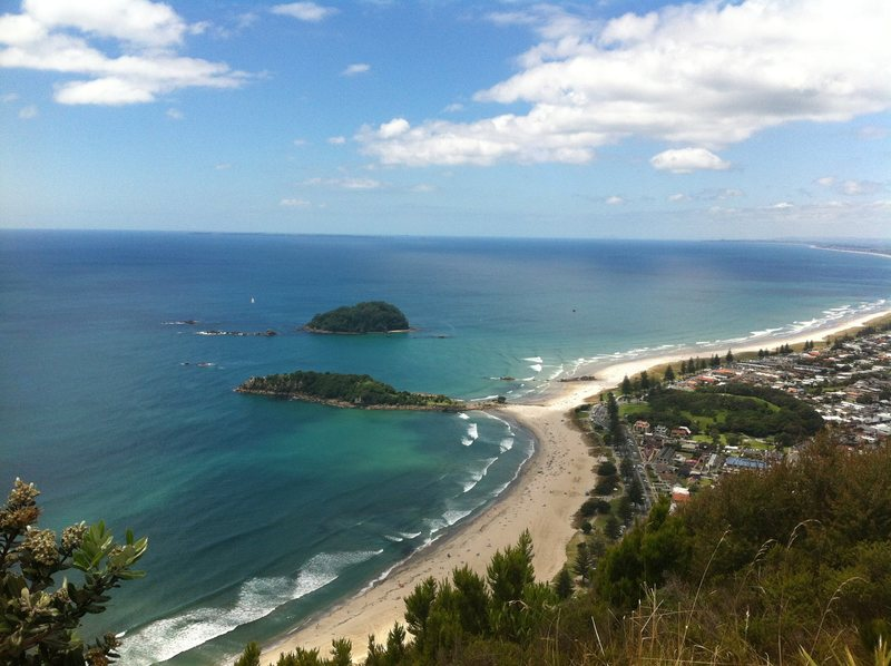 Rock Climbing Photo: View down the beautiful Mt Maunganui beach, from t...