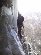 Rock Climbing Photo: Snowy and a bit thin to get established on the ice...