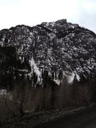 Rock Climbing Photo: View of wall driving up Camp Bird Road.  Out of th...