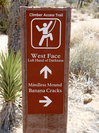 Rock Climbing Photo: Trail sign for Left Hand of Darkness (W. Face), Jo...