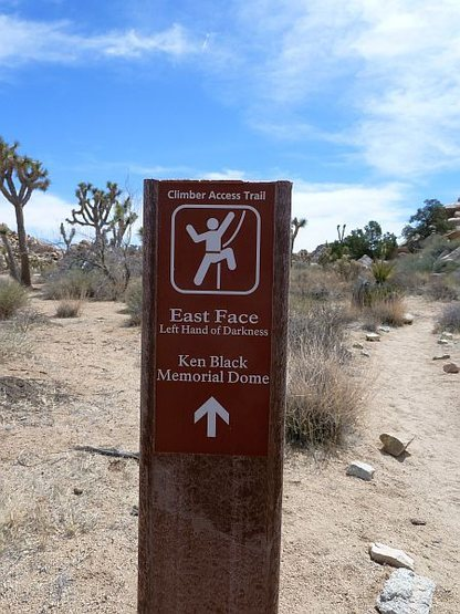 Trail sign for Left Hand of Darkness (E. Face), Joshua Tree NP