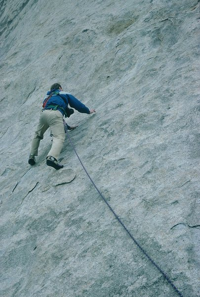 Rock Climbing Photo: Gary, leading low on the route.