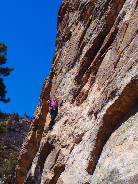 An ok photo of the general route. Nice crimps up to a crux transition to the first belay