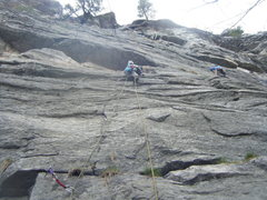 Rock Climbing Photo: Jean heading up to the crux on Lost & Found. The c...