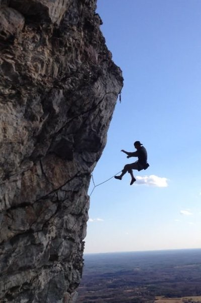 """Whipping on the redpoint crux of """" The Theater Of Pain """" 5.13b Cooks Wall, NC"""