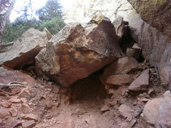 Rock Climbing Photo: The giant boulder that creates the base under Dark...